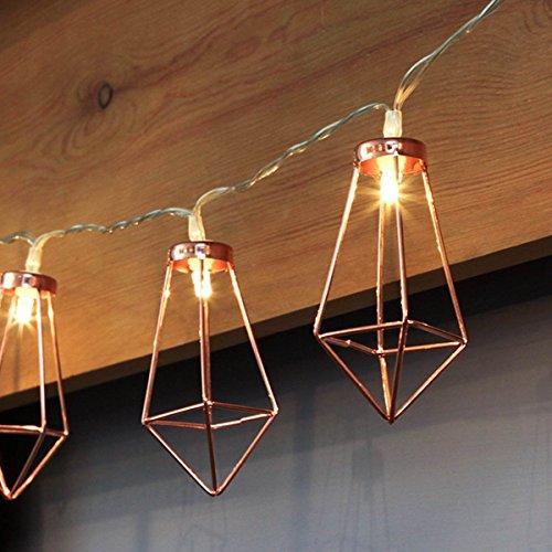 CozyHome LED Lichterkette geometrische Pyramidenform Kupfer Rosegold | 3 Meter Gesamtlänge | 10 warm-weiße LEDs - kein lästiges austauschen der Batterien | NICHT batteriebetrieben sondern mit Netzstecker (Gold Zertifiziertes Netzteil)