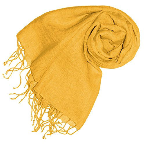 LORENZO CANA Luxus Damenschal Leinenschal 100% Leinen 70 x 180 cm Tuch Naturfaser Gelb Senf Modefarbe Spicy Mustard 93264