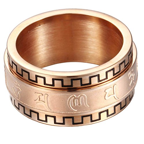 PAURO Herren Edelstahl Buddhismus tibetischen Mantra Spinner Ring 10mm Wide Band Jahrgang Om Mani Padme Hum Gebet Schmuck Rose Gold Größe 60