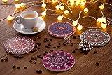 LAZARAH® Design Untersetzer Set für Gläser, Tassen, Vasen, saugfähige Keramik mit Korkrücken, Boho, Mandala, orientalischer marokkanischer Stil - 5