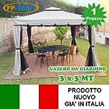 FP-TECH Gazebo da Giardino 3X3 O 3X4 in Alluminio Telo Antipioggia ZANZARIERA E Camino Robusto E ANCORABILE 3 X 3 O 3 X 4 (Gazebo 3x3)
