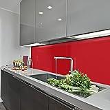 KeraBad Küchenrückwand Küchenspiegel Wandverkleidung Fliesenverkleidung Fliesenspiegel aus Aluverbund Küche Rot glanz/matt 50x180cm