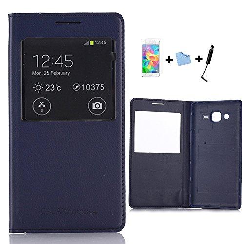 Galleria fotografica Aeontop 4 in 1 Custodia protettiva per Samsung Galaxy Grand Prime SM-G530 FLIP COVER con finestra di visualizzazione , Pellicola di Protezione e dello stilo Incluse , Blu