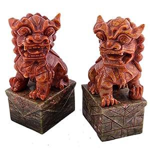 Une paire de pierre de jade Chiens Fu chinois Guardian Lions Feng Shui W GRATUIT Mxsabrina Bracelet corde rouge l7026