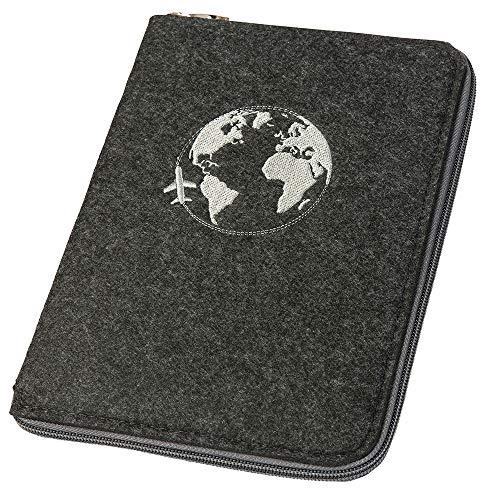 Ausweistasche Reiseorganizer Reisepasshülle A5 aus Filz mit rundum Reißverschluss Globus dunkelgrau (Farbe wählbar)   Etui für Reisepass, Reiseunterlagen, Flugticket, Kreditkarte, Personalausweis