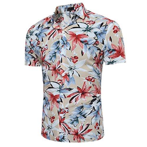 Hawaii-print Hoodie (Hemden Männer Lässig Hemd Hawaii-Print mit Blumen Slim Fit Kurzarm T-Shirt Herrenhemden Super Komfort Kurzarmhemd Sommerhemd Streetwear Shortsleeve Blusenshirt Sommer Oberteile (M, Khaki))