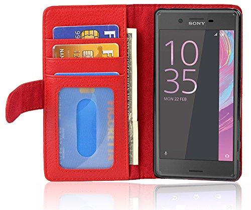 Cadorabo Hülle für Sony Xperia X Performance - Hülle in Inferno ROT - Handyhülle mit 3 Kartenfächern - Case Cover Schutzhülle Etui Tasche Book Klapp Style