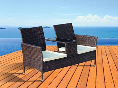 LIVIVO Garden 2 Seater Rattan Love Seat Chair Bench with Glass Table Piece Patio Furniture Coffee Table Vase Dining Eating Picnic Table Set & Neat Tidy Beautiful Contemporary Outdoor Living Garden Conservatory Patio Summer Sunny Innovative