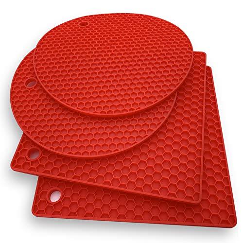 Premium Silikon-Untersetzer: 4 Mehrzweck-Topf-Halter, Ofenhandschuhe, Hot Pads, vielseitig einsetzbar, hitzebeständig, rutschfester Glasöffner, Greifunterlage, Knoblauchschäler, Trocknungsmatte - Rot Hot-pad