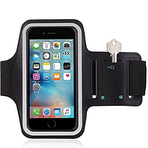 For iPhone 6 6S 4-7 / iPhone 7 Running Sports Armband Gyms Fitness Workout ARM Band Cover Strap (Black /