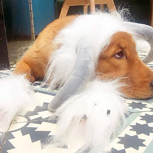 (BeesClover Hunde-/Katzenperücke, lustige Schaf-förmige Kopfbedeckung, für Cosplay, für Hunde, Halloween, Weihnachten, Kostüm, Größe L, Weiß)