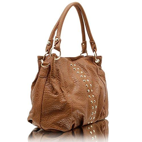 b8d886edcad98 Jennifer Jones 3979 Handtasche Damen Shopper Damentasche Henkeltasche  Schultertasche Tasche Nieten Cognac ...