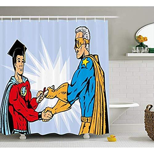 Yeuss Abschluss Duschvorhang, Superheld Abschluss Cartoon-Stil Comic Kostüm Diplom Heroismus stolzer Lehrer,Stoff Badezimmer Dekor Set mit Haken,Multicolor 66'x72' (Cartoons Und Comics Kostüm)