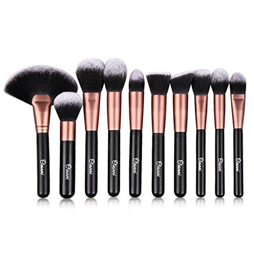 Ovonni 24pcs Professional Superior Cosmetic Makeup Brush Makeup Tools Kit Brush Set Black Brush Roll