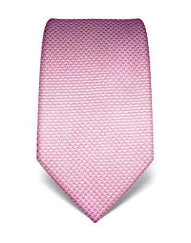 Vincenzo Boretti Herren Krawatte aus reiner Seide, Hahnentritt rosa