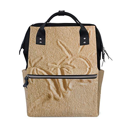 Gemalte Palmen im Sand Strand großen Kapazitäts Windel Beutel Mama Rucksack Multifunktionswindel Krankenpflege Beutel Tote Handtasche für Kinder Baby Obacht Spielraum tägliche Frauen