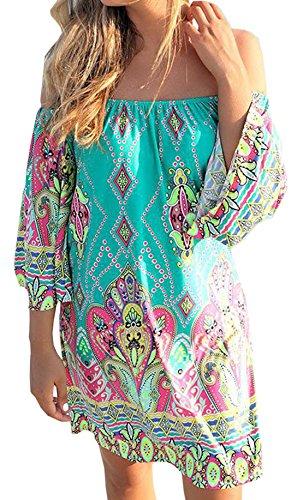Reizvolle Damen Wort Schulter Strandkleid Minikleid Bluse Tops Vintage Bohemian Blusenkleider Freizeitkleider Druckkleider Grün