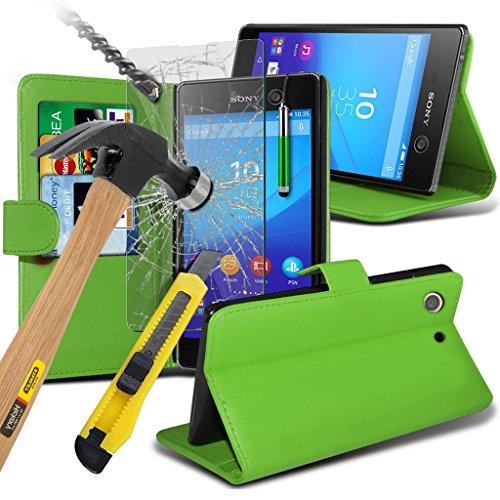 Étui pour Sony Xperia M5 / Sony Xperia M5 E5603, E5606, E5653 Titulaire de téléphone Case voiture universel Mont Cradle Dashboard & pare-brise pour iPhone yi -Tronixs Wallet + Glass ( Green )