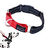 PETBABAB Martingale Dog Collar, Reflective Gear Safe at Night, No Pull Collar with Quick Release Handle, Suitable Control Pet in Traffic When Walking Training - S in Red