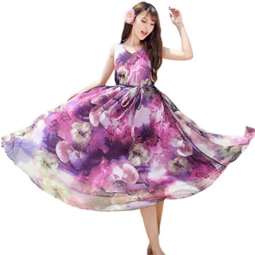 Medeshe - Robe - Tunique - Sans Manche - Femme multicolore Multicoloured Purple Floral