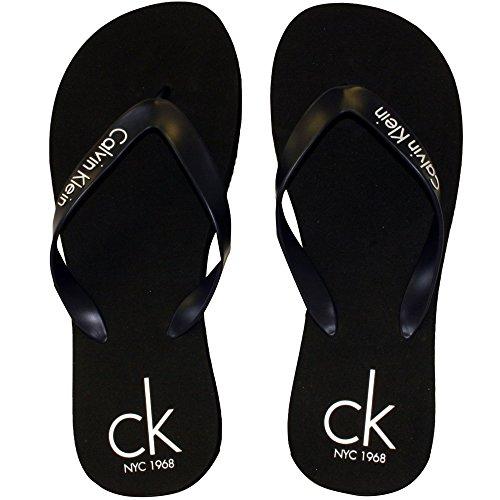 Calvin Klein CK NYC Logo Band Flip Flops, Schwarz Medium