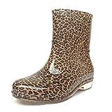 Alger Frau Hause im Freien Stiefel Regen 38 Leopard Grain