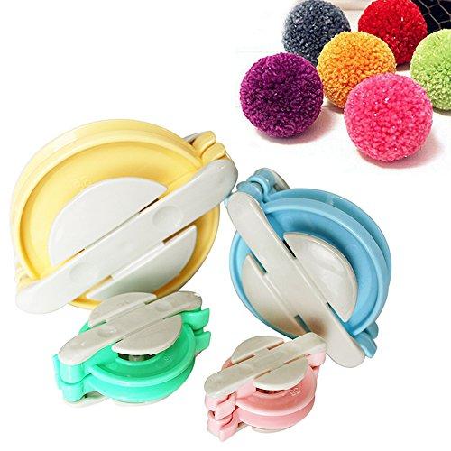4-tlg. Kunststoff Pom Pom Maker Set - 10, 8.5, 6, 5cm Bommel Maker von Curtzy - Fluff Kugel weber DIY Handwerk Pompom Making Kit für Dekorationen, Girlanden, Charms und Mehr - Einfach zu Verwenden - Maker Kit Pom-pom