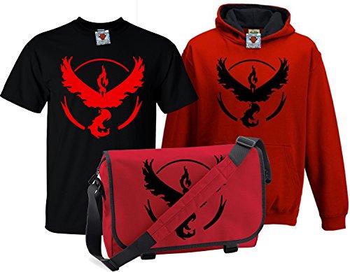 Ash Kids Shirt (Reality Glitch Kinder Deluxe Team Valor T-Shirt, Contrast Kapuzenpullover & Messenger Bag Set (Rot, 9-11 Years))