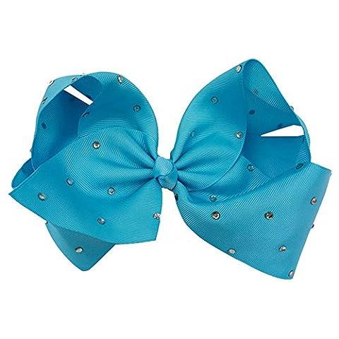 happyquda 20,3cm Damen Frauen Mädchen großer Kristall mit Strass Ripsband Schleife Haar Clip (Clip Navy Tie Clip)