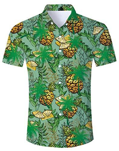 Loveternal Hawaiihemden für Herren Ananas Shirt Hawai Hemd 3D Druck T-Shirt Kurzarm Sommer Strandhemd Hippie Shirt Herren Grün XXL -