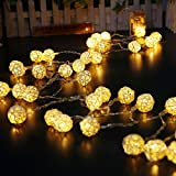 Onebycitess Globe Rattan Ball Lichterketten 16.4feet / 40 LED Warm White Fairy Light f¨¹r Indoor Schlafzimmer Vorhang Patio Rasen Landschaft Fairy Garden Home Hochzeit Urlaub Weihnachtsbaum Party