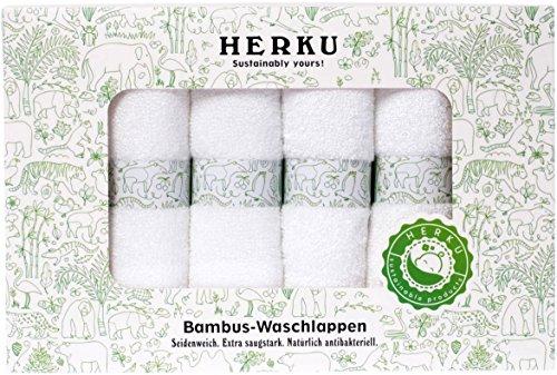 Baby Waschlappen aus Bambus sind SEIDENWEICH und EXTRA SAUGFÄHIG, natürlich antibakteriell & farbstofffrei für zarte Babyhaut, 6 Stück weiß à 25x25cm (Bio Waschlappen)