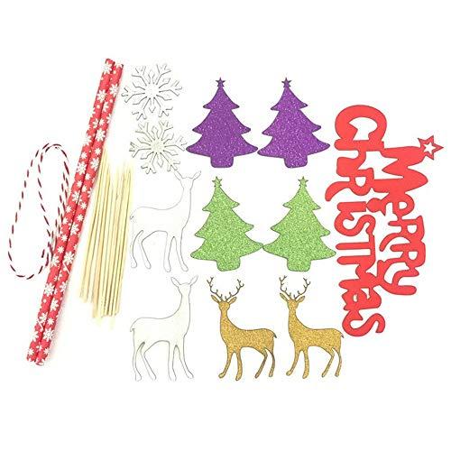 """Vovotrade """"Merry Christmas""""Geburtstags Kuchen Dekoration - Mini Kuchen Bunting Banner Weihnachtsbaum Weihnachtskleiner Kuchen Toppers Kuchen einfügen Fahnen für Party (C)"""