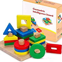 Wooden Shape Sorter Educational Toys, Bigger Version Toddler Geometric Building Block Board Puzzle Color Shape Recognition Stack Sort Toy Early Learning Preschool Education for Baby Kids