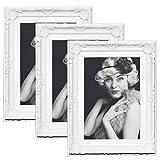 EUGAD 3er Set Bilderrahmen 9460-3 Kunststoffrahmen, Glasscheibe, Antik Barock, Zum Aufstellen, Zum Aufhänger, (Weiß, 13x18)