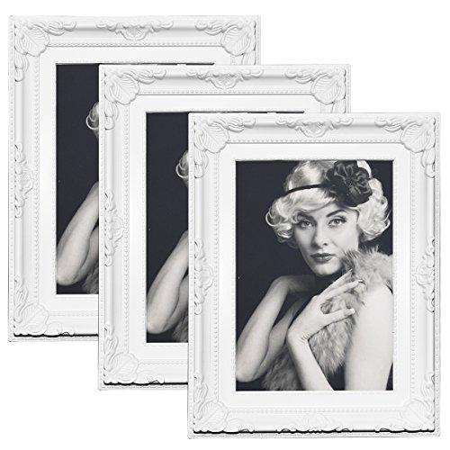 3er Set Bilderrahmen 9454-3 Kunststoffrahmen, Glasscheibe, Antik Barock, zum Aufstellen, zum Aufhänger, (Weiß, 10x15)