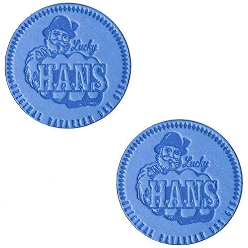 Lucky HANS Bavarian Dry Gin Bar Posavasos para Gin & Tonic: Piel azul sintética - Juego con dos posavasos