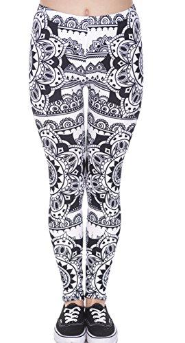 Hanessa Mujeres Leggins Blanco y Negro Impresa Leggings Pantalones Primavera Verano Ropa Mandala S/M