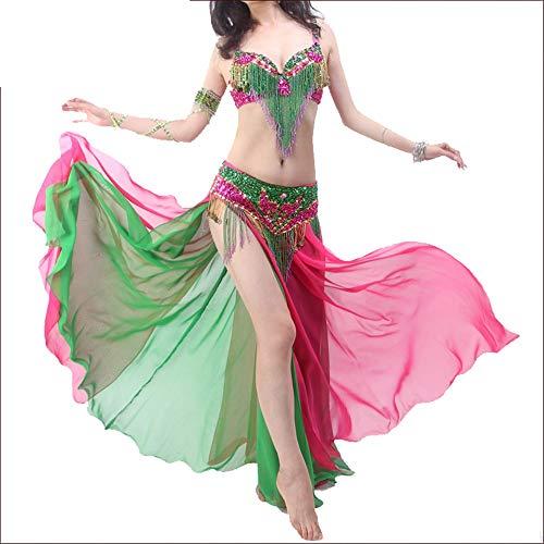 Tänzer Halloween Kostüm Ballett - Haikellos Sexy Tribal Bauchtanz BH Gürtel Karnevalsanzug Bauchtanz Kostüm Einfach und elegant (Farbe : Rot, Größe : S)