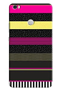 Omnam Horizontal Stripes With Black Pink Combination Designer Back Cover Case For Xiaomi Mi Max