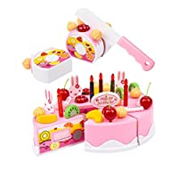Keepwin Pretend Play Cutting Food Birthday Cake Toy Set Kitchen Food Toys Set Girls Gift for Childrens Boys Girls (Multicolor /A)