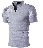Tootlessly Men Floral Basic Style Mandarin Collar Henley Shirt Top Grey S