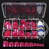 spritech (TM) 100Pre Pure Color Design falsche Nägel Zehen Tipps mit einem gratis 3G Nagel Kleber für Fake Fußnägel Nail, Pearly Lustre Rose, Einheitsgröße