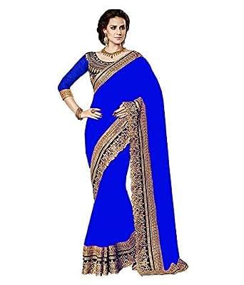 Nirjas Women's Georgette Saree Royal Blue