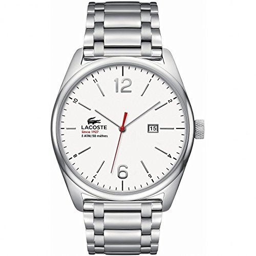 Lacoste 2010745–Reloj de Pulsera de Hombre, Correa de Acero Inoxidable Color Plata