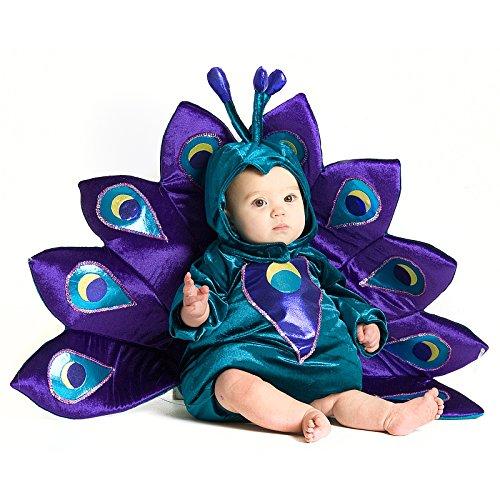 Deluxe Baby Peacock Pfau Kinder Baby Kostüm Fasching Karnevall Mädchen türkisblau lila (Kind Kostüme Pfau)