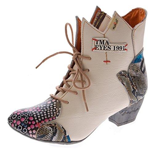 Damen Stiefeletten echt Leder Stiefel Muster variieren Comfort Schuhe TMA 7707 Boots 36 - 42 Weiß-Creme