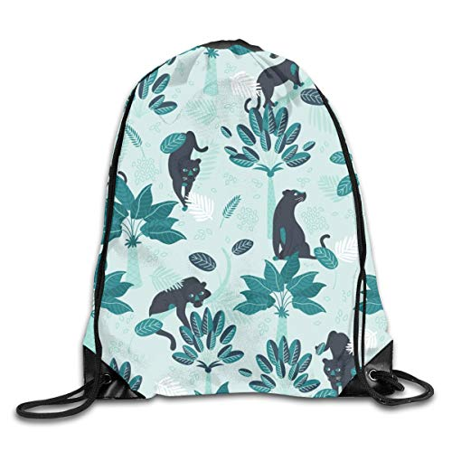 Drawstring Backpack Bags Tropical Panther Mint Sport Athletic Gym Sackpack for Men Women (Camo Rucksack Dc)