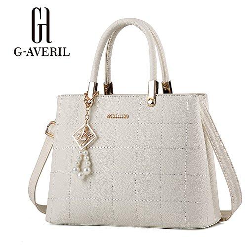 (G-AVERIL) Borsa Messenger Donna Elegante Cerniera Design Tote bianco