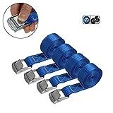 Correa de amarre cinturón de amarre con hebilla - azul - 2,5m 4m 6m - diferentes cantidades resistente a 250 kg DIN EN 12195-2, 4 piezas - 2.5 cm x 2.5 m